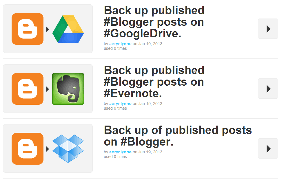IFTTT Recipes for Blogger Management