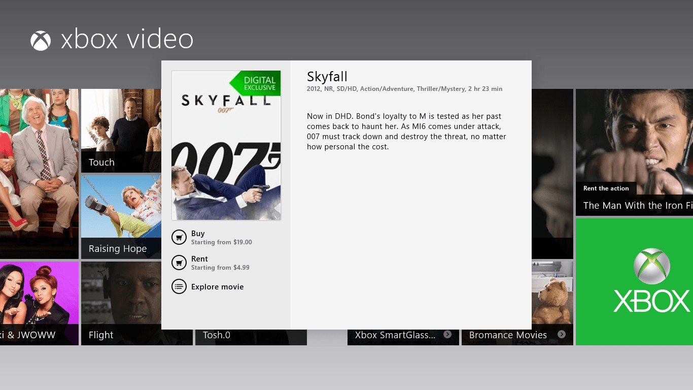 xbox video - rent Skyfall