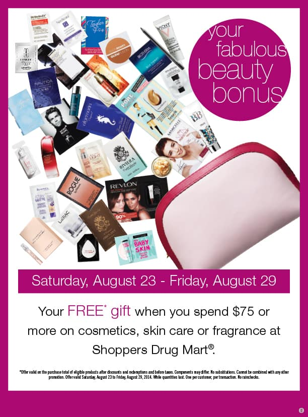 Free Makeup pouch and samples with purchase of $75 or more