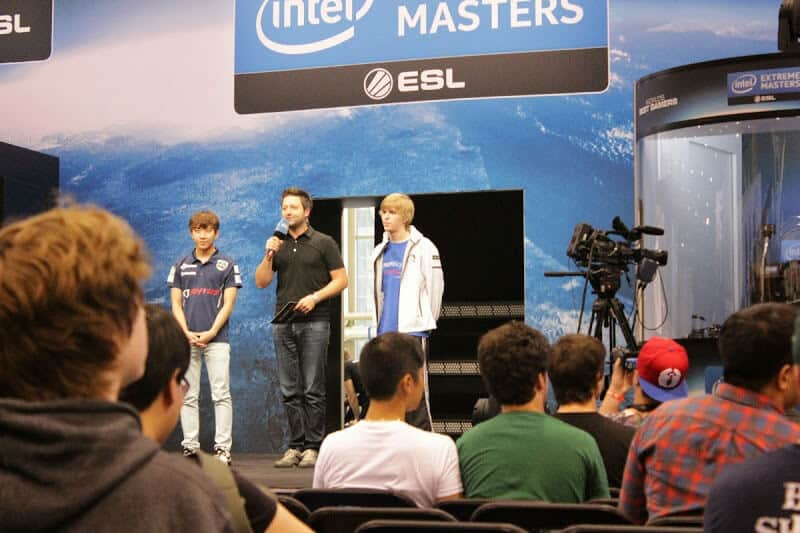 Two competitors of Intel's global Extreme Masters gaming competition.