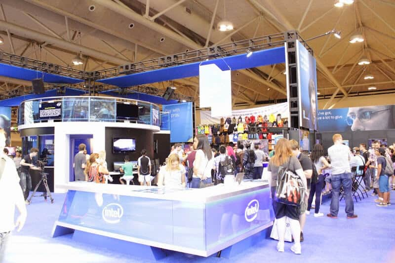 Front info area of the Intel Booth at the FanExpo 2014.