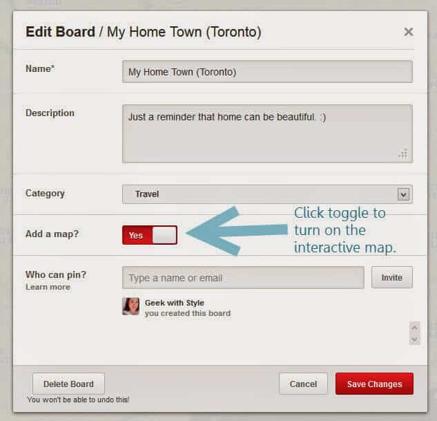 Simply click the toggle button to turn on interactive mapping on your Pinterest board.