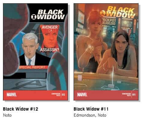 Two Black Widow Covers, drawn by Phil Noto