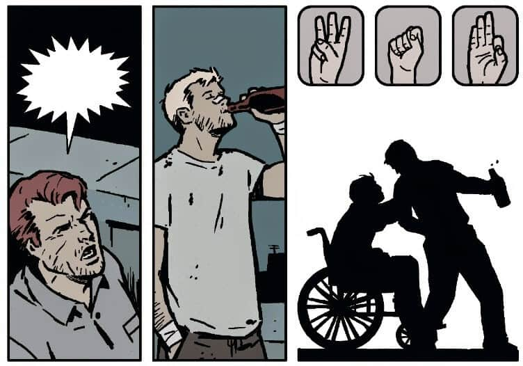 A deaf Hawkeye communicating with ASL. Hawkeye #19, drawn by Annie Wu.