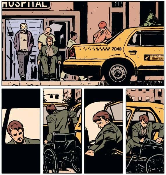 Barney Barton requiring a wheelchair in Hawkeye #19, still a strong independent individual. Drawn by Annie Wu.
