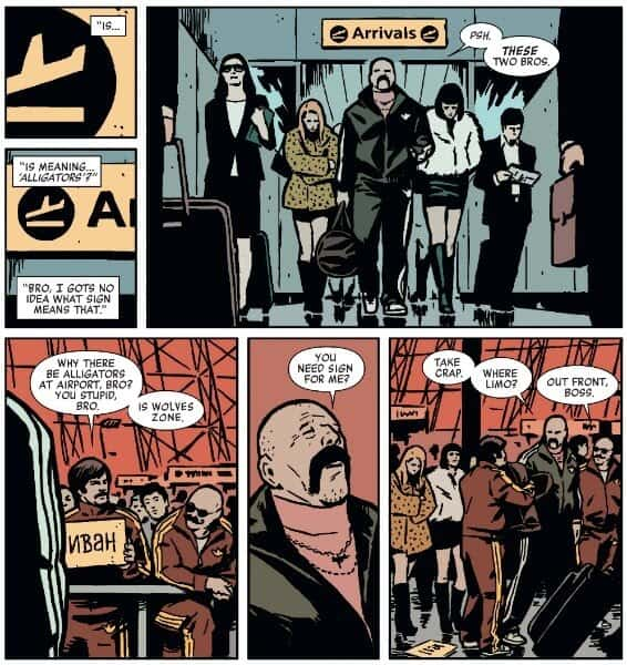 Showcasing unhelpful way-finding in the most basic sense. Hawkeye #19,  Drawn by Annie Wu.