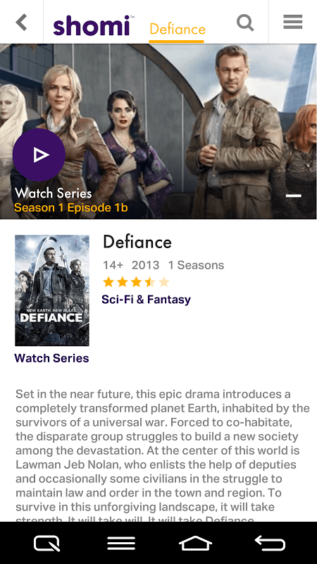 TV Show: Defiance, a shomi exclusive for Canadian TV/Movie apps.  I'm looking forward to watching this. Loved Julie Benz ever since Angel!
