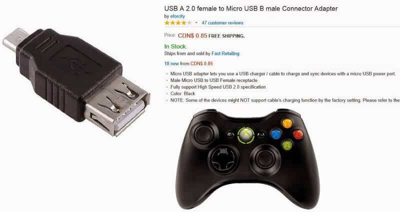 USB to Mini USB adapter to hook up an xbox controller to a Windows Tablet.