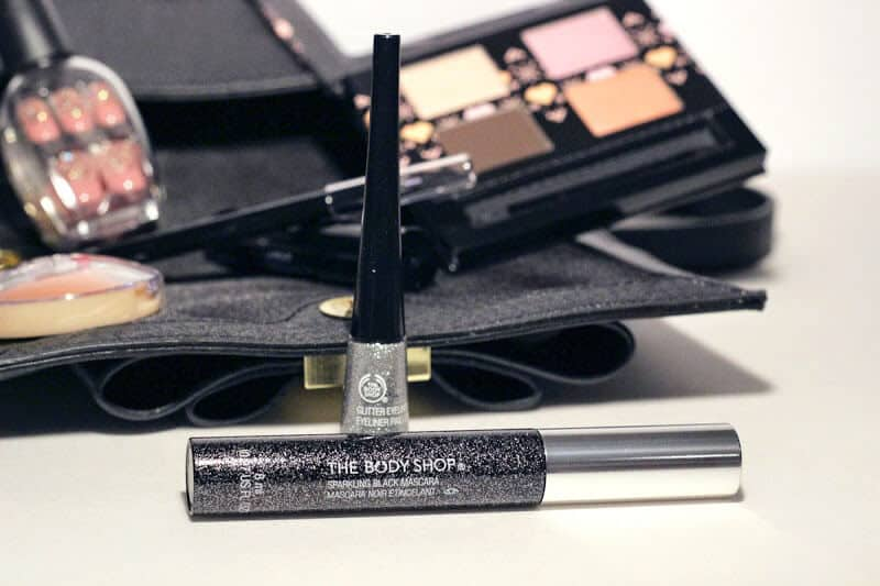 Get your glitter on with The Body Shop's mascara and liquid eye liner.