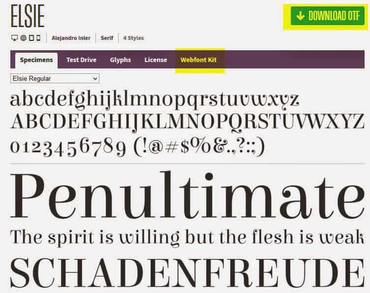 Using a webfont on your website.