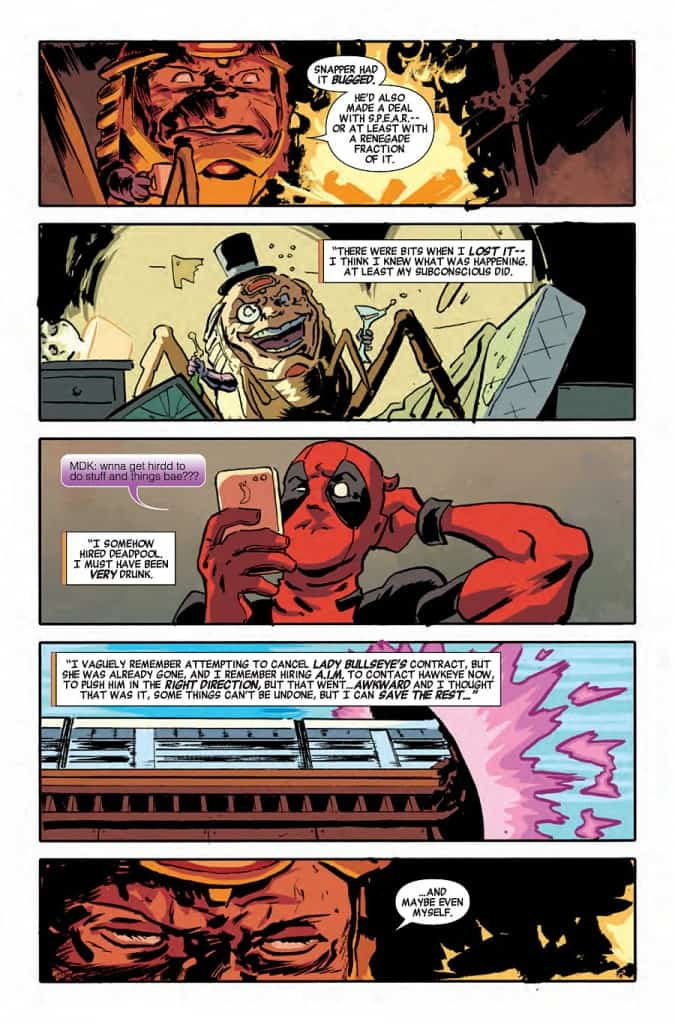 M.O.D.O.K. drunk hires Deadpool. Awesome. Story by Ales Kot, Art by Michael Walsh