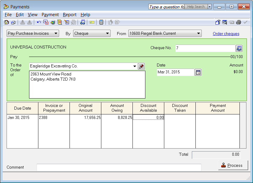 Sage 50 Pro Accounting Payment Tracking