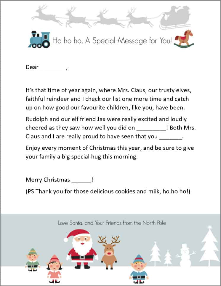 Free Letter From Santa Template Printable