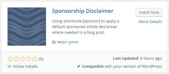 Sponsorship Disclaimer Plugin in WordPress Repository