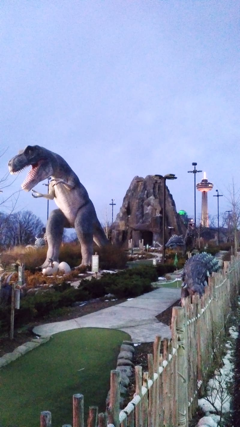 #BigWorldExplorer - Dinosaurs on a mini-putt golf course.