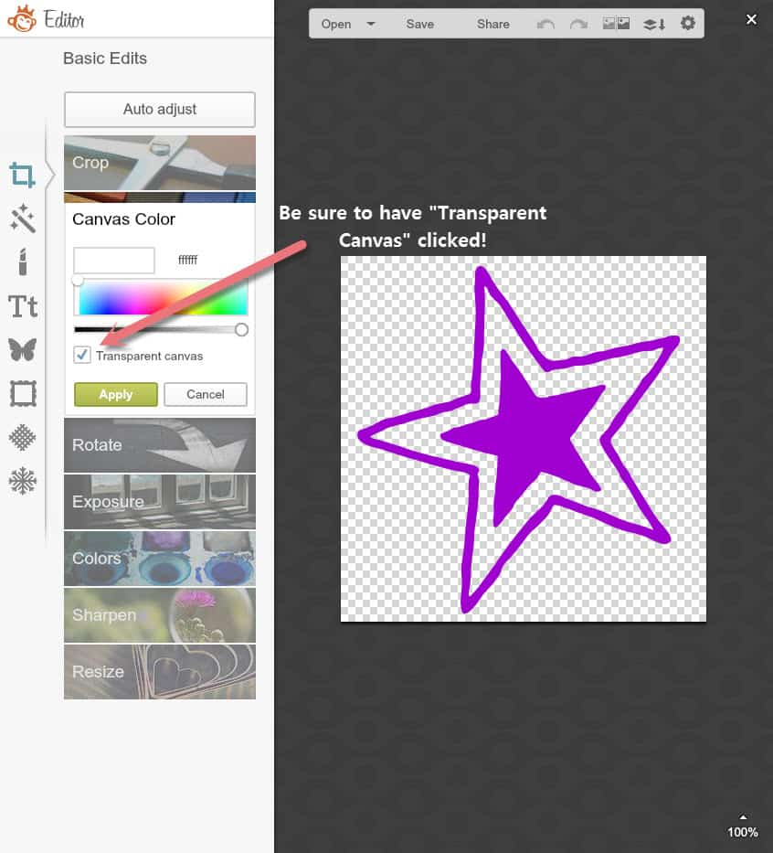 "When creating a favicon with PicMonkey, be sure to have ""Transparent Canvas"" checked."