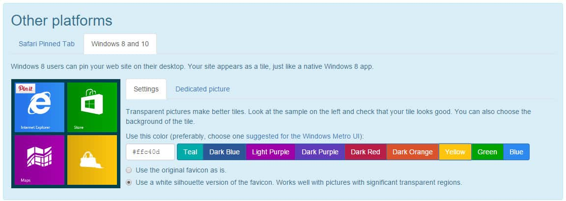 Windows 8 & 10 Favicon Design