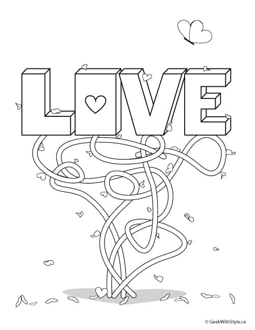 LOVE: Free Printable Adult Colouring Sheets Valentine's Day