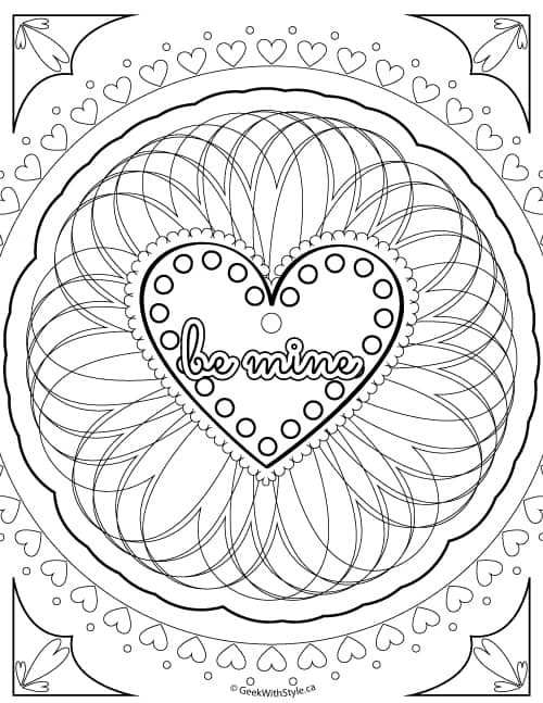 Be Mine: Free Printable Adult Colouring Sheets Valentine's Day