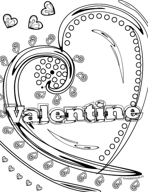 Hearts: Free Printable Adult Colouring Sheets Valentine's Day