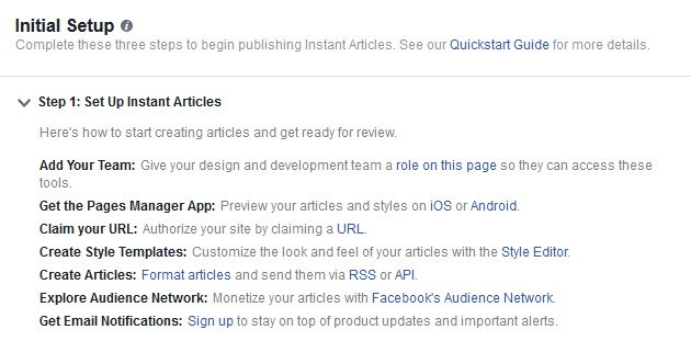 Facebook Instant Articles Initial Set Up