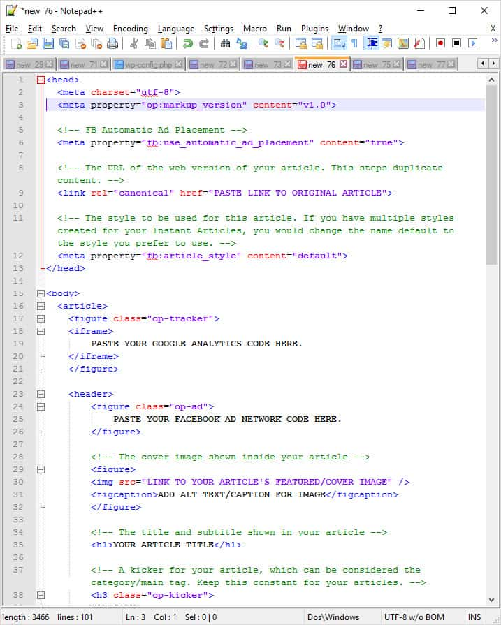 Notepad++ HTML Facebook Instant Articles Template