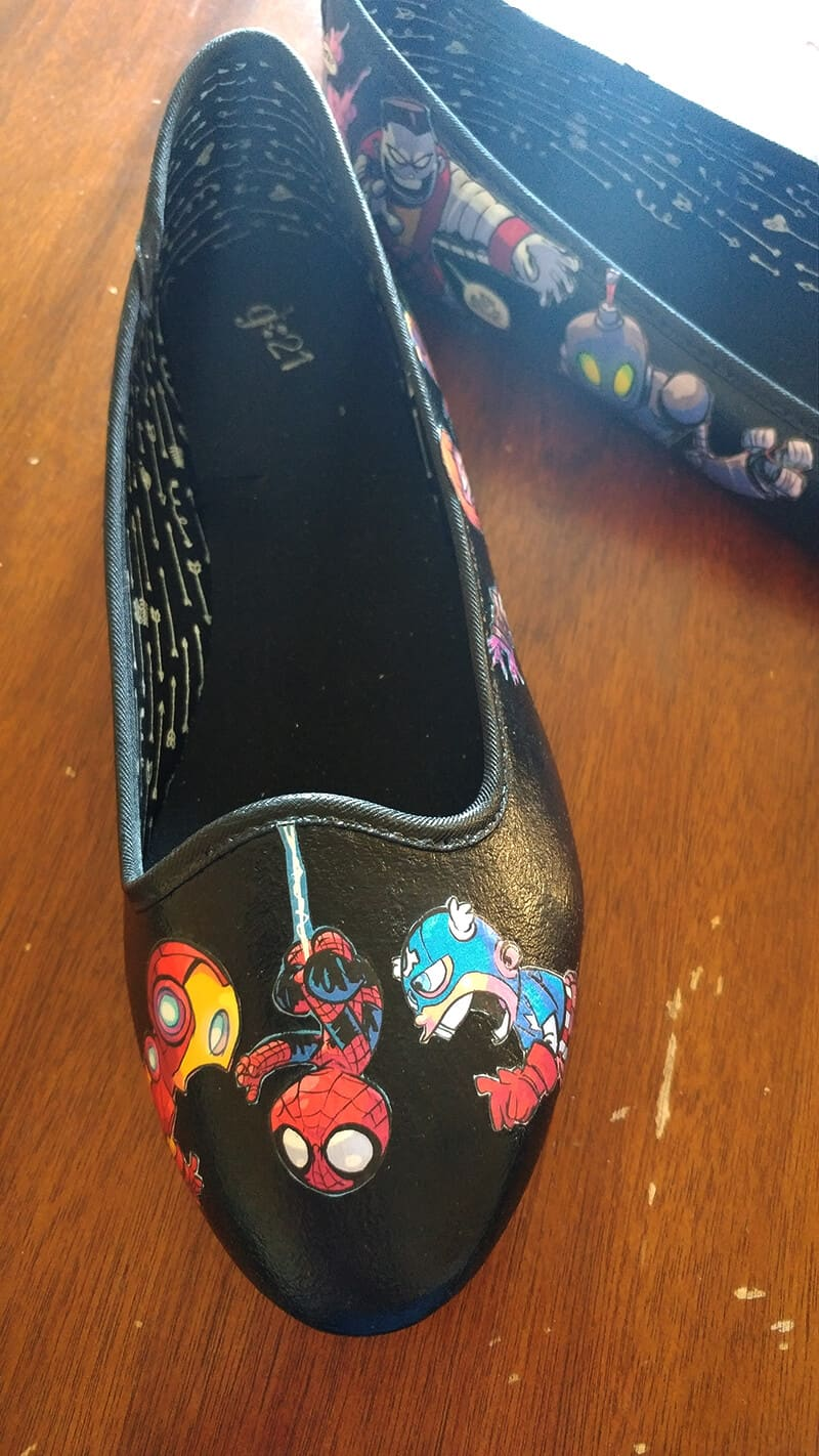 Comic Book Shoes - Civil War Iron Man Spiderman Captain America