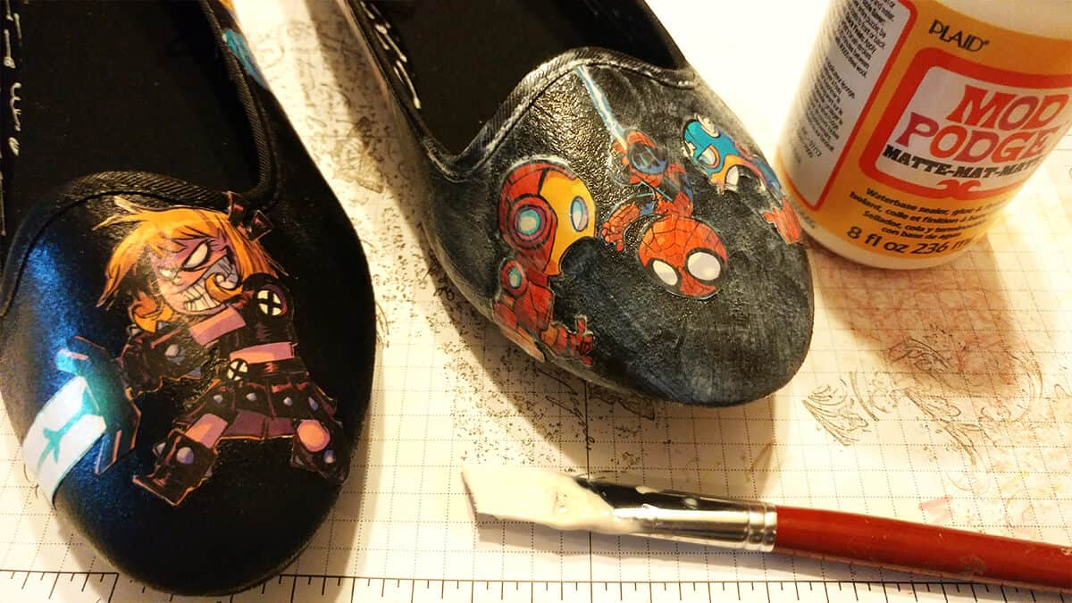 Comic Book Shoes - Layer glue all over the shoes multiple times