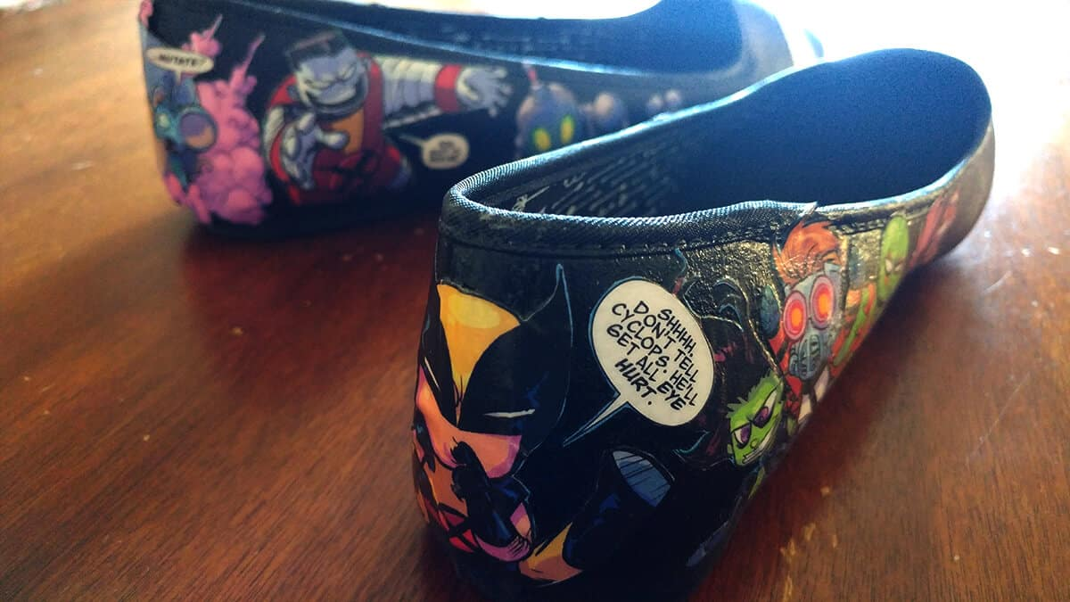 Comic Book Shoes - Wolverine still finds room to make fun of Cyclops.