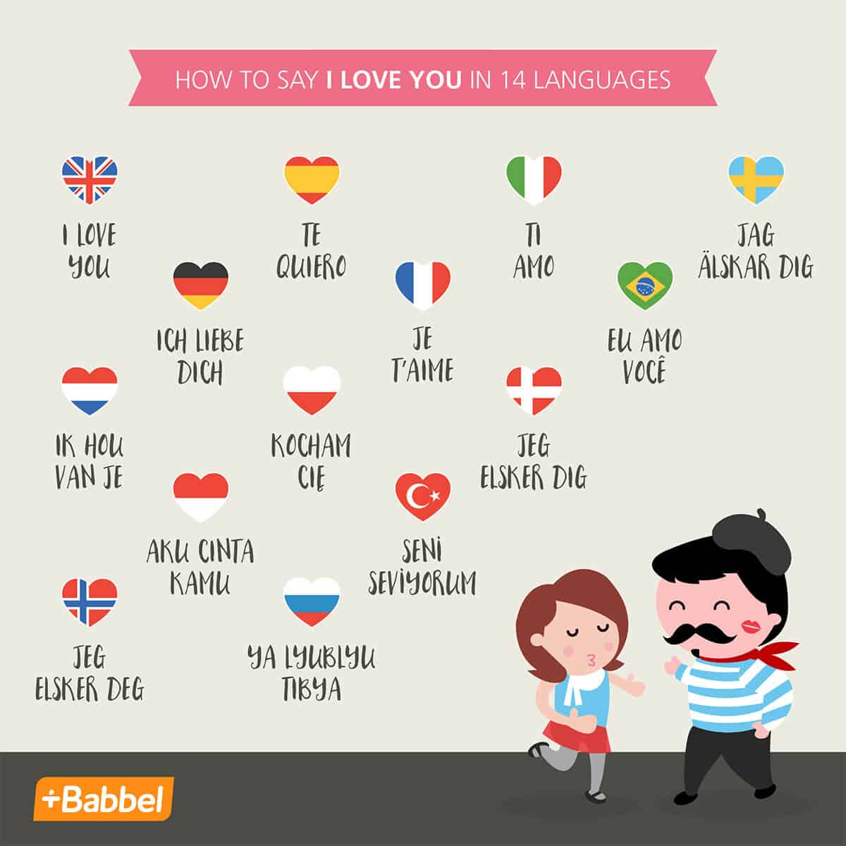 Babbel 14 Languages to say I Love You