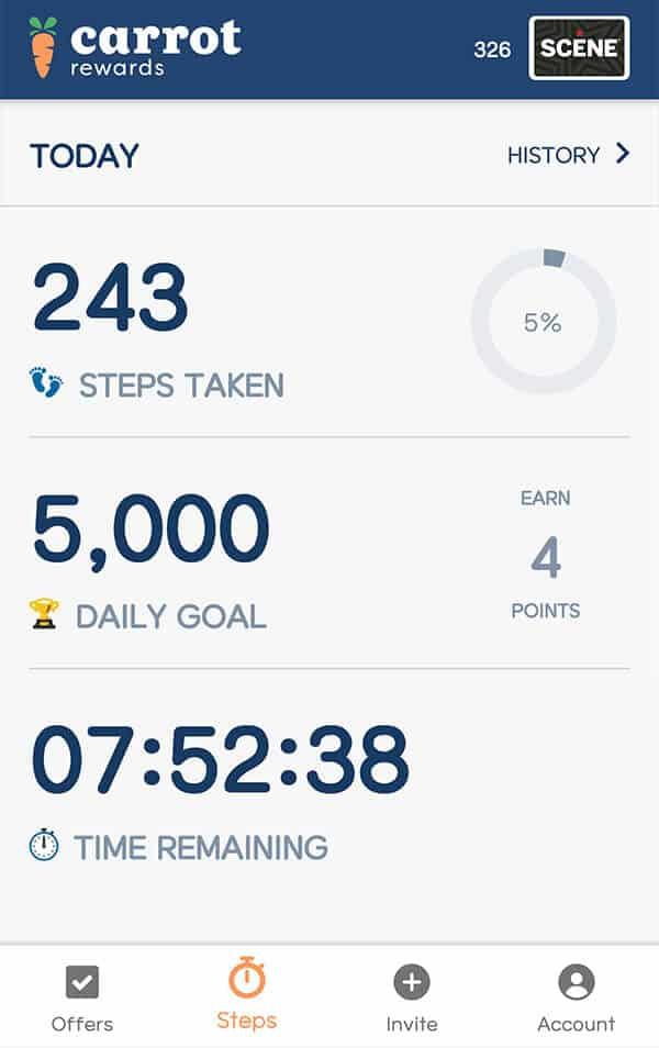 Carrot Rewards App - Today's stats for earning Scene points.