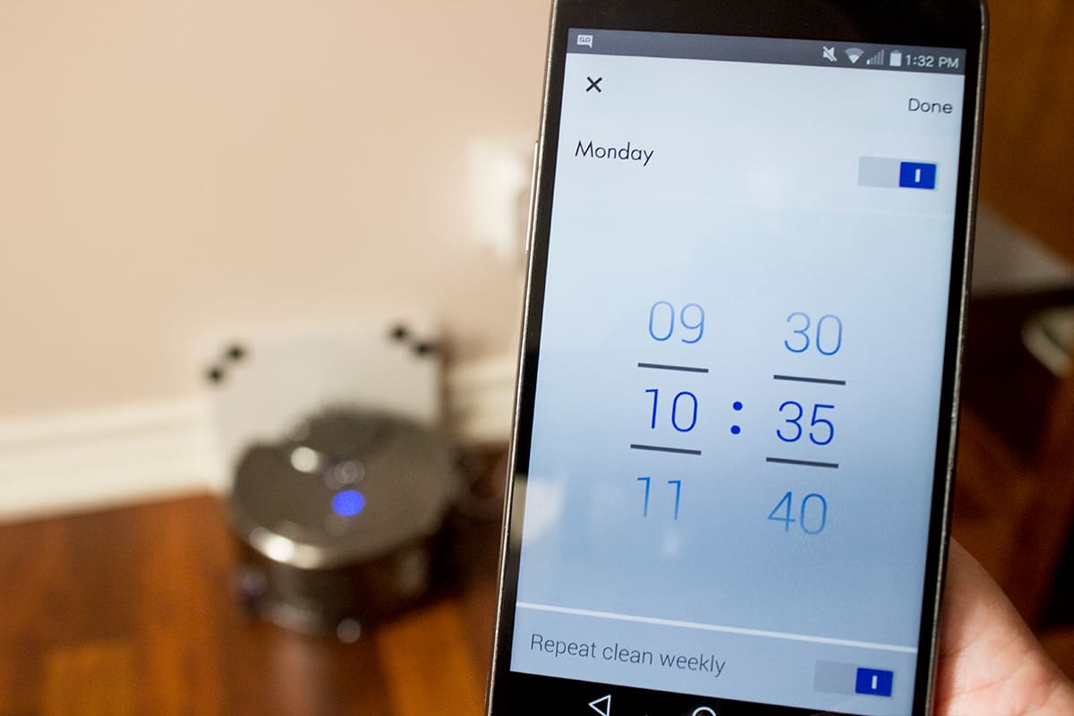 dyson 360 eye review app setting schedule