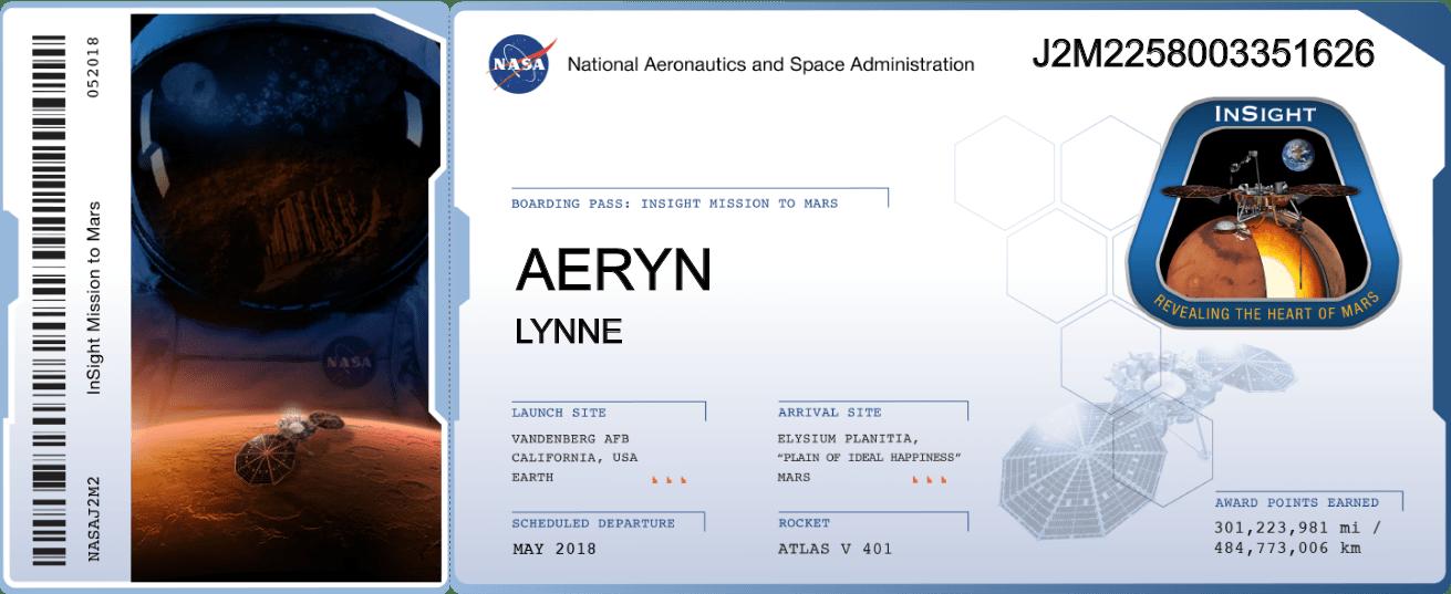 NASA BoardingPass_MyNameOnInSight