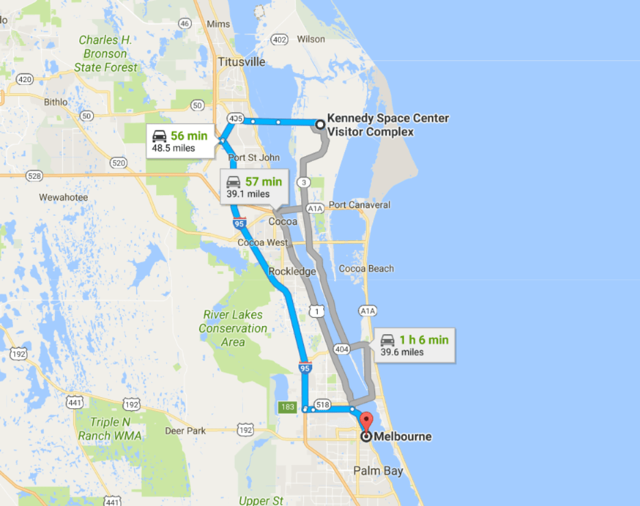 Kennedy Space Centre to Melbourne Florida MLB Map
