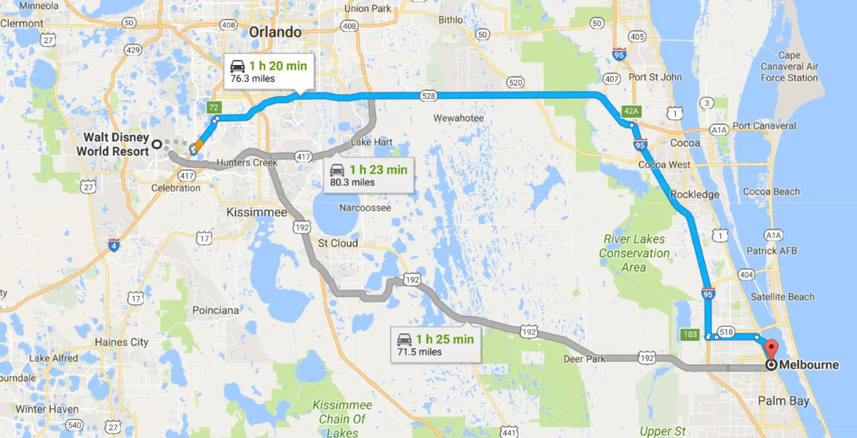 Walt Disney World Resort to Melbourne Florida Map