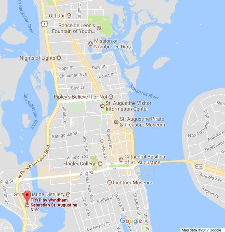 Google Map St Augustine TRYP by Wyndham Hotel