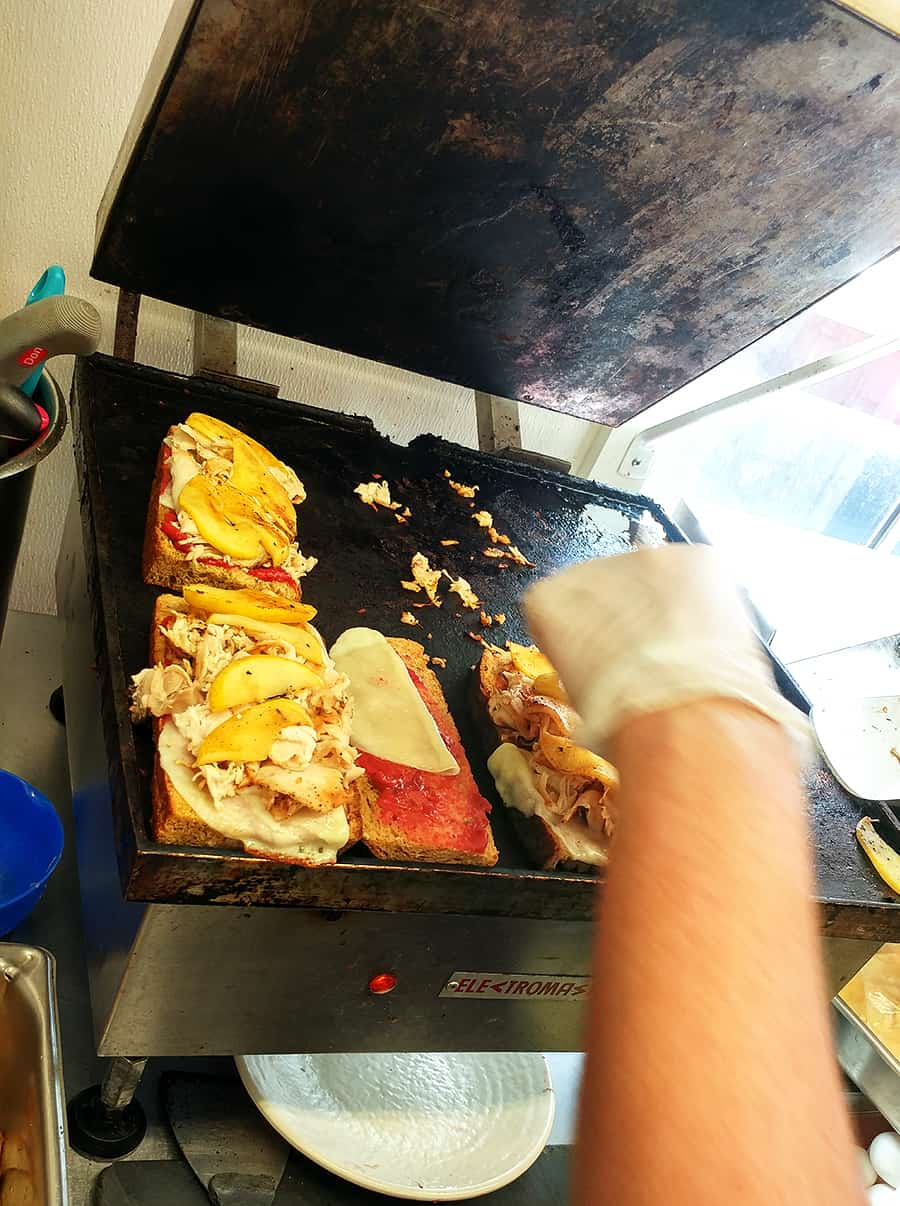 Hot Shot Bakery & Cafe's panini maker in their kitchen, St. Augustine Florida