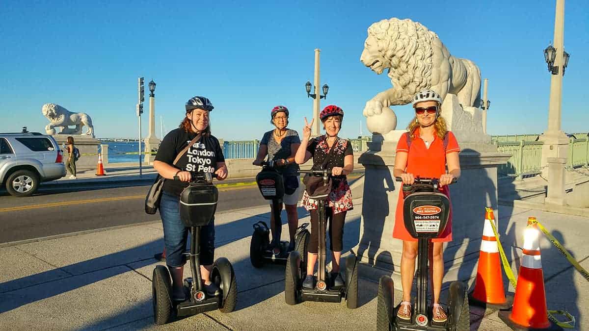 St Augustine Bike Rentals Segway Tour near lion statues