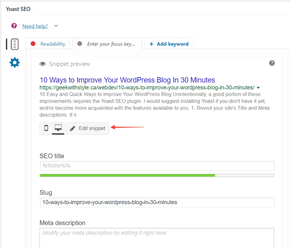 Yoast SEO - Edit Snippet Title to Improve Blog Reach on Google Search