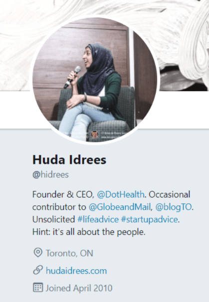 International Woman's Day - Huda Idrees Twitter Profile