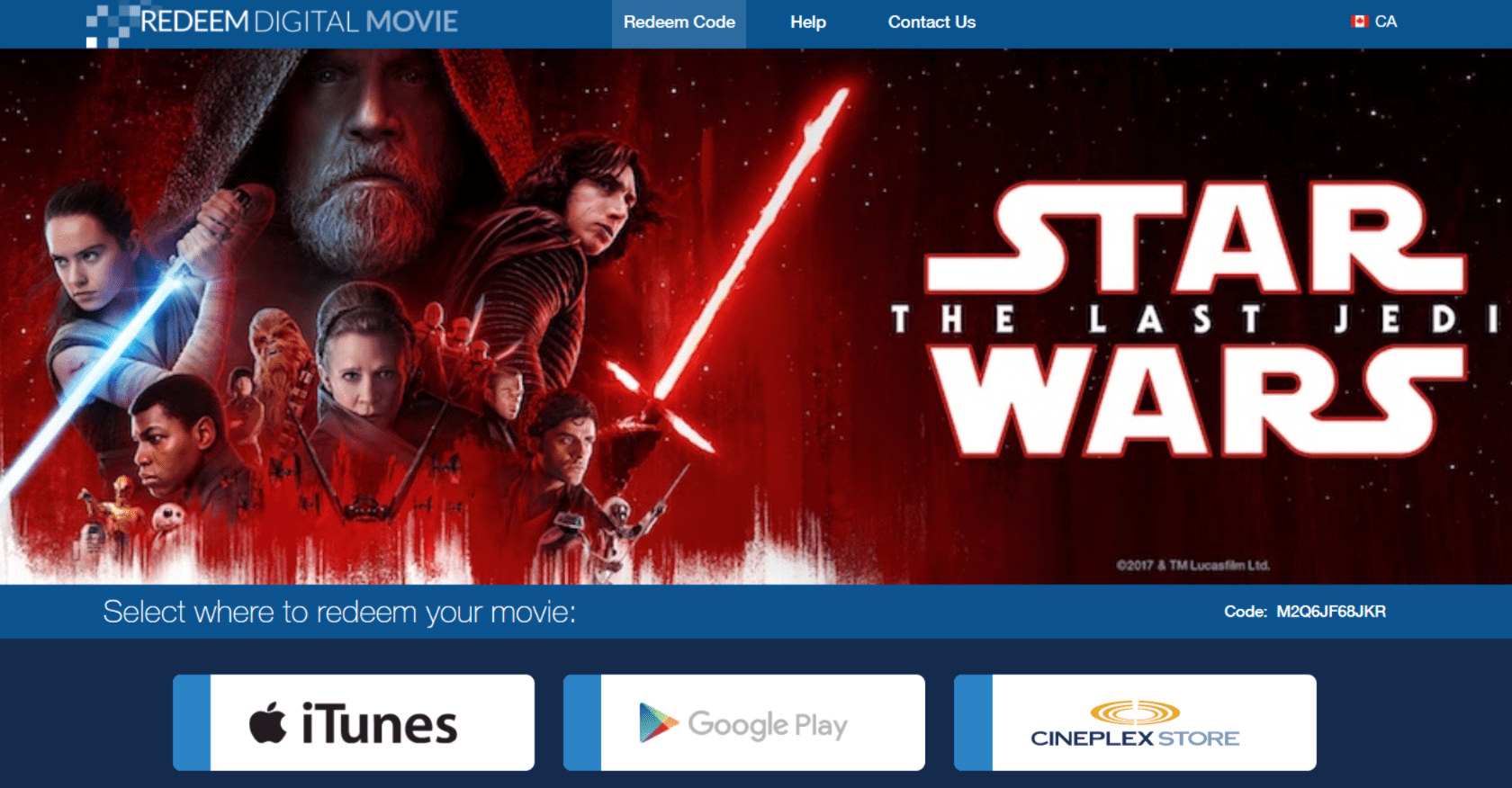 Star Wars Last Jedi Redeem Digital Movie