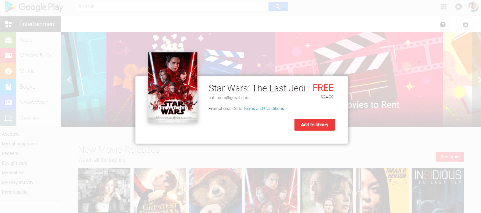Star Wars The Last Jedi Google Play Movie Code Redeemed