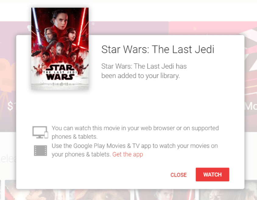 Star Wars The Last Jedi Google Play Ways to Watch